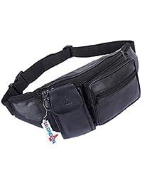 K London Stylish Real Leather Black Waist Bag Elegant Style Travel Pouch Passport Holder with Adjustable Strap(1276_blk)