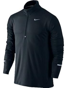Nike Langarmshirt Dri-Fit Element Half Zip Camiseta, Hombre, Negro/Plateado (Black/Reflective Silv), M