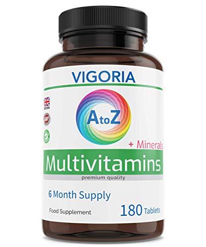 Multivitamin + Mineralien A-Z 180 Tabletten - 6 Monatsvorrat - A bis Zink Formel - Für Immununterstützung Energie Allgemeine Gesundheit - ausgewogener Vitaminkomplex für Männer und Frauen -