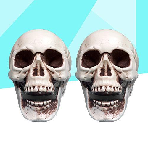 JIAENY 2 Stücke Halloween Schädel Prop Scary Mini Simulation Kunststoff Schädel Decor Schädel Skeleton Requisiten Für Party Haunted House Roombreak (Kunststoff Mini Kostüm)