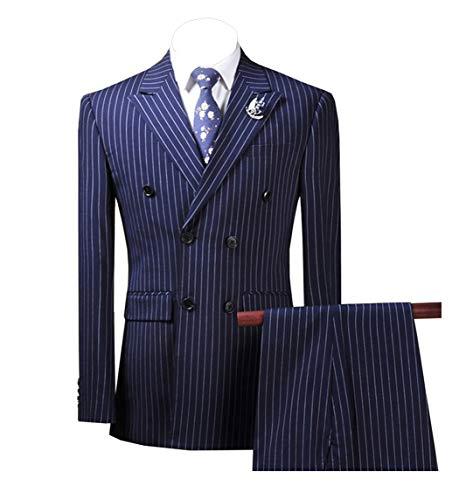 LoveeToo Slim Fit Herren Anzug Set 3 Stück Hochzeit Groomsmen Nadelstreifen Männer Revers (Blazer + Weste + Hose)(54S,Königsblau -