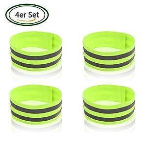 ZMunited 4er Set Doppel Reflektorbänder Reflektoren instellbar Reflektierende Sicherheits Armband für Outdoor Jogging, Radfahren, Wandern, Motorrad-Reiten oder Laufen