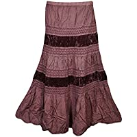 Mogul Interior Womans Long Skirt Velvet Lace Panels Brown Tiered Medieval Hippie Maxi Skirts