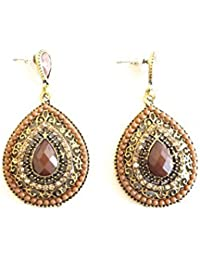 Réf1C19 BO.394 - Boucles D'oreilles Fantaisie Vintage - Pendants Gouttes Perles Marrons Strass - Métal Doré