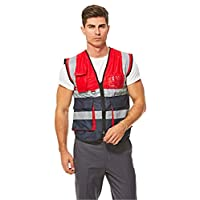 Empiral Dazzle Safety Vest Heavy Duty Dual Color with Zipper - Red
