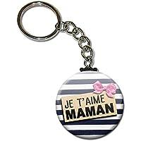 Je t'aime Maman Porte Clés Chaînette 3,8 centimètres Idée Cadeau Accessoire pour la Fête des Mères Noël Anniversaire