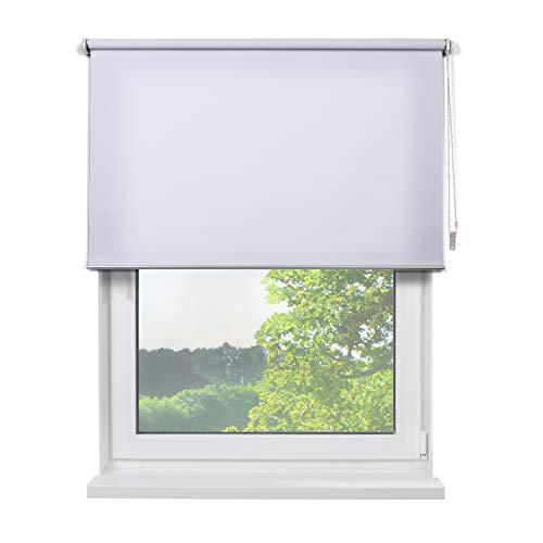 Fertig Sichtschutzrollo, Rollos für Fenster, Rollo, Farbe weiß, zum Bohren und Schrauben, lichtdurchlässig und Blickdicht, 140 x 180 cm (BxH) -