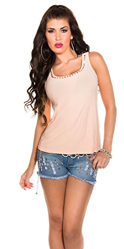 High low Tanktop mit Zip und Strass Hellorange