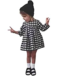 CHIC-CHIC Robe de Baptême Bébé Fille Princesse Loose Robe Carreaux Manches Longue Portefeuille Tenue Tutu Cérémonie Party Soirée