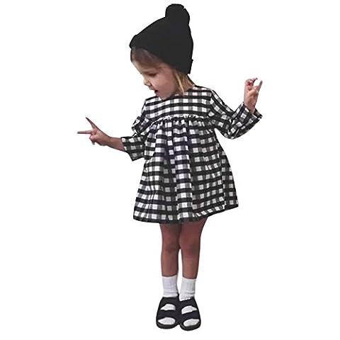 CHIC-CHIC Robe de Baptême Bébé Fille Princesse Loose Robe Carreaux Manches Longue Portefeuille Tenue Tutu Cérémonie Party Soirée (5-6ans Noir/Blanc)