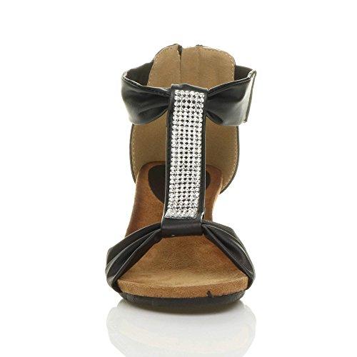 Donna tacco a zeppa media basso strass t-bar festa piattaforma sandali taglia Nero