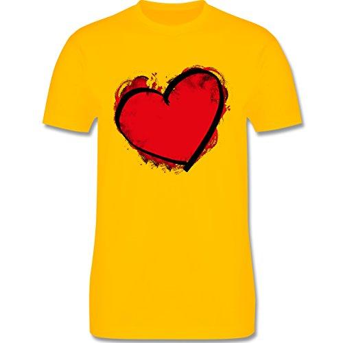 I love - Herz gemalt - Herren Premium T-Shirt Gelb