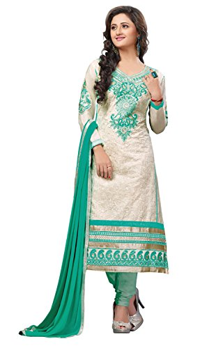 Khushali Presents Multi Embroidered Cotton Chudidar Unstitched Dress Material(Cream,Rama)