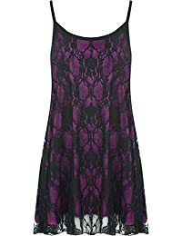 Womens Plus Size Lace Chiffon Sheer Lined Strappy Sleeveless Swing Vest 12-30