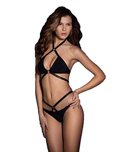 efd3055d37 Donne Sexy Nero Triangolo legare Bendare Push-Up Imbottito Due Pezzi Bikini  Beachwear Costumi da