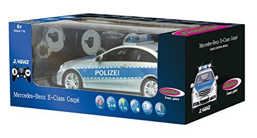 Jamara 410023 - Mercedes E350 Coupe 1:16 Polizei 2,4GHz - deutsche Polizeisirene, Alarmanlage, Startton, Beschleunigungston, Bremston, Hupe, Zusperrton, Signalleuchte, Blinker, 4 Geschwindigkeiten - 9