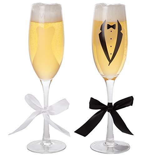 Champagnerflöten, Braut & Bräutigam, Brautkleid und Smoking Design, mit Schleifen, ca. 70 ml, 2 Stück Smoking Dinner