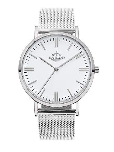 Sailor Damen Herren Uhr Classic Analog Quarz mit Edelstahl Armband Style Silber SL101-1019-40, Farbe Ziffernblatt:weiß, Durchmesser:40mm