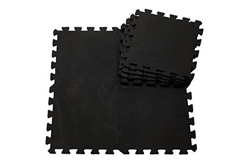 H Cadeau Bunt Puzzlematte Schaumstoff Puzzle Matte Kinder Spielteppich Spielmatte Baby krabbeln Boden Schlafzimmer Yoga Turnhalle 30*30*1cm 9Teile (Schwarz)