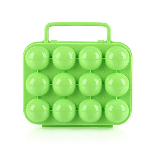 Unbekannt Home Decor Eier Carry Box, tragbare Eierkarton Eierablage Fach Box Folding Kunststoff Eier Carrier Keeper Lebensmittel Vorratsbehälter mit Eierhalter Trays 12 Egg Slots (Farbe : Green)
