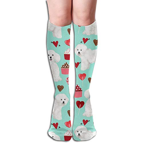 Stocking Bichon Frise Valentines Day - Love Valentines Hearts Cupcakes - Aqua Multi Colorful Patterned Knee High Socks 50cm(19.6Inchs) ()