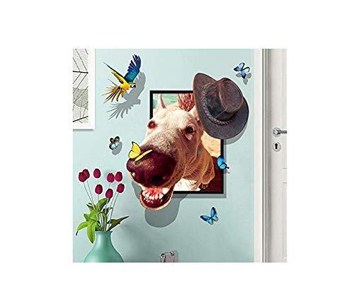 3D Aufkleberdreidimensionale Wirkung Cartoon Niedlichen Bilderrahmen Pet Lächeln Hund Kopf Schlafzimmer Kinderzimmer Wandaufkleber 86 * 106 Cm - Cartoon Kopf