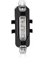 TOOGOO(R)5LED bicyclette feux arrieres Flash USB rechargeable velo securite lampe etanche, noir + blanc