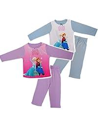 alles-meine.de GmbH 2 TLG. Set _ Hausanzug / Schlafanzug -  Disney Frozen - die Eiskönigin  - Größe 2 bis 6 Jahre - Gr. 92 bis 128 - 100 % Baumwolle - Langer Pyjama / Sportanzu..