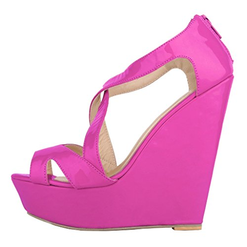 MERUMOTE Damen Y-009 Peep Toe Cross Strap Plattform High Heels Keil Sandalen Rosen Rot-Lackleder