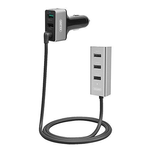 Unitek 60W 5 USB Port Qualcomm Certified Quick Charge 3. 0 Aluminum Car Charger for Front & Backseat Charging + Extendable Hub Clip - Black