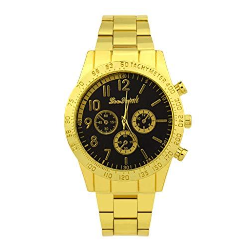 IG Invictus Mode Edelstahl Herren Quarz Uhr Herrenuhr Luxus Lässige Uhr Herrenuhr aus Metall ZYBFLS 17 PEOTAINL MIT Schwarz Gold Männer Uhren