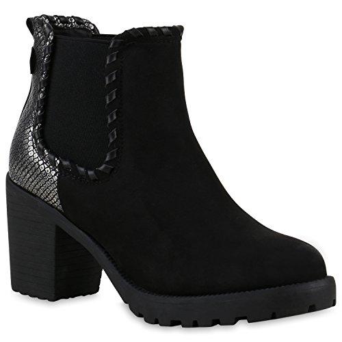 Damen Stiefeletten Chelsea Boots Profilsohle Blockabsatz Schuhe Silber Schwarz