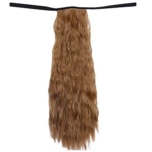 Brown 6A 50 cm de longs cheveux bouclés perruque de cheveux synthétiques Extension de cheveux Ponyta