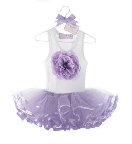 mudpie 192080 Tütü-Kleid weiß lila Purple Buds TuTu Dress - Pie Kleider Mud