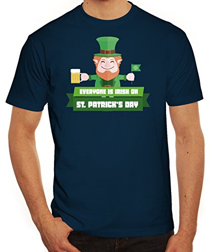 Saint Patrick's Day St. Patricks Day Herren T-Shirt mit Everyone Is Irish...Motiv Dunkelblau