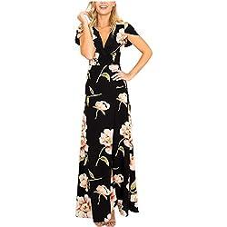 Vestido de Mujer, L'ananas Mujeres 2018 Cuello de Pico de Verano Manga Corta Delantera Dividida Fiesta Nocturna Boda Playa Vestido Largo de Flores Maxi (S/34, Negro)