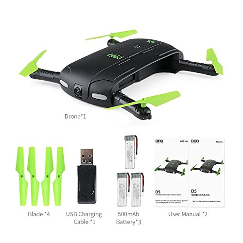 Lovelysunshiny DHD D5 Foldable Selfie Drone RC Quadcopter with WiFi FPV camera 3 RTF battery