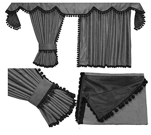 Adomo LKW Gardinen für TGX in grau mit schwarzen Pompoms/Kugel