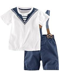 iBaste La marina de camisa de manga corta + pantalones cortos de la Moda del Verano Camiseta T-shirt Nuevo 2016