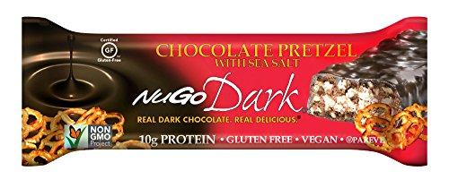 NuGo Nutrition - Pretzel oscuro del chocolate de la barra de chocolate con la sal del mar - 12 Bares