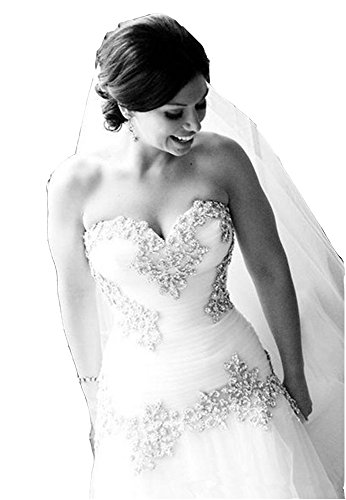 Cloverbridal Vintage A-Linie Schatz Bling Kristalle Sequins Tüll Brautkleider (Wedding Crystal Bridal Chapel)