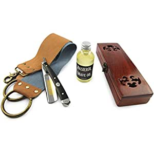 A.P. Donovan – Exzellentes 7/8″ Rasiermesser Set – schwarzer Sandelholz-Griff (Carbon) – Rasieröl (sensitiv) und Leder-Streichriemen mit Paste