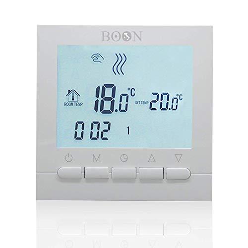 BOON Cronotermostato Digitale Settimale LCD a batteria - Bianco