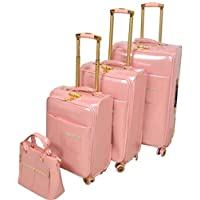Track Luggage Trolley Bags Set of 4 Pieces  Pink - 7223/4P