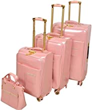 Track Softside spinner luggage Set of 4 pieces with 3 digit number Lock -Pink