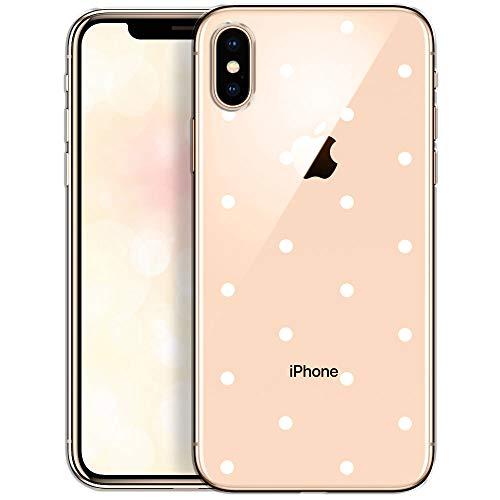 OOH!COLOR Handyhülle kompatibel mit iPhone X iPhone XS Hülle transparent Muster dünn Slim Bumper Silikon Schutzhülle durchsichtig Case mit Motiv weiße Punkte (EINWEG)