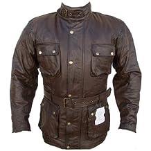 Australian Bikers Gear Trailmaster Classic Vintage marrón para moto encerado edad tratada chaqueta de piel tamaño XXL