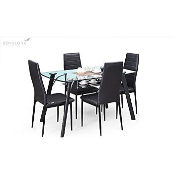 Royal Oak Milan Four Seater Dining Table Set (Black)