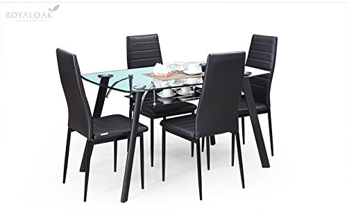 Royaloak Inter Four Seater Dining Table Set (Black)