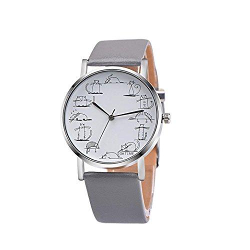 Unisex Herren Uhr Cartoon Katze Legierungs Armbanduhr Analog Quarz Leder Armband